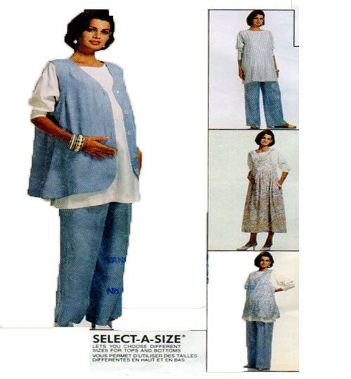 McCalls 6966, Maternity Clothing, Sewing Pattern, Dress, Jumper, Sleeveless Blouse, Tunic Top, Vest, Pull On Pants, Size 10-12-14