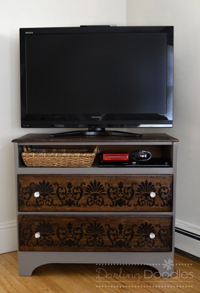 Old dresser into TV stand- DIY- Love the stencil used on the