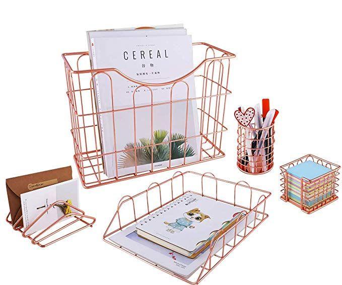 Superbpag Wire Metal 5 In 1 Desk Organizer Set Letter Sorter Pencil Holder Stick Note Holder H Desk Organizer Set Hanging File Organizer Desk Organization