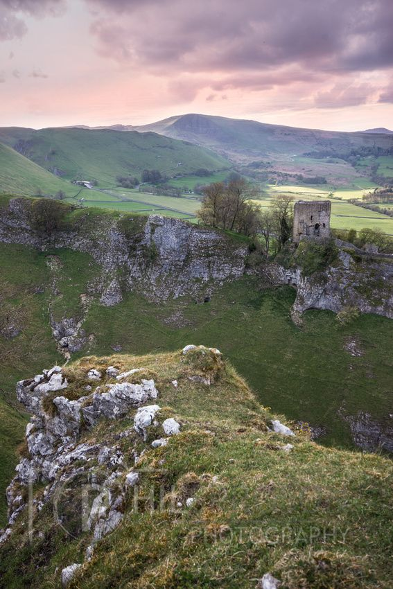 Peveril Castle and Mam Tor from Cavedale