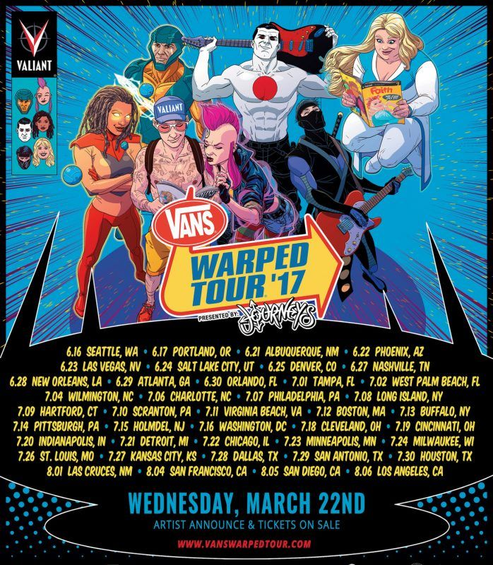 Vans Warped Tour 2017 Artists to be Announced & Tickets On Sale March 22nd –   Vans Warped Tour® Presented by Journeys®   Unveils 2017 Artwork & Reveals Lineup Announcement To Be on March 22    Tickets For All Shows On Sale March 22 at 10:00AM local time Los Angeles, CA and New York, NY February 17, 2017 – The entire lineup for the 2017... #vanswarpedtour #vanswarpedtour2017 #warpedtour