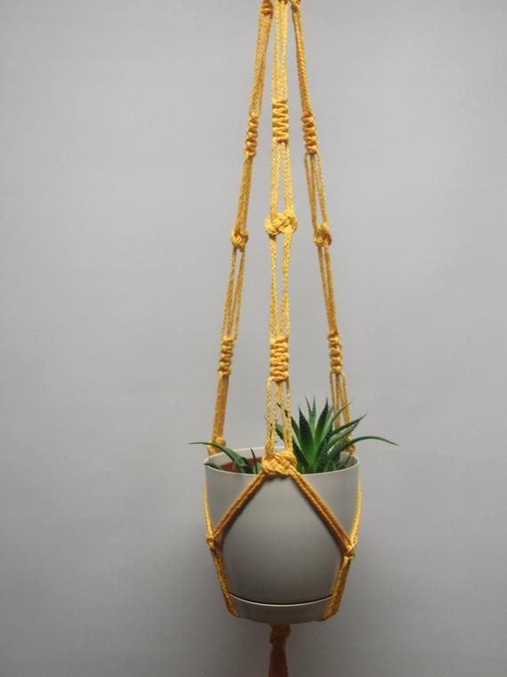 Orange Yellow Plant Hanger Many Sizes 26in 53in Double 2 Tier Plant Hanger Hanging Flowerpot Holder Plant Hanger Macrame Plant Hanger Macrame Plant
