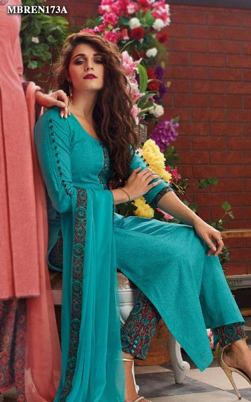 d58fc12d5fb5 Suit Set in Firozi Colour Online Shopping For Ethnic Wear: Buy Designer  Sarees, Lehengas, Anarkali suits, Salwar Suits,Kurtis,Gowns –  Meenabazaar.com