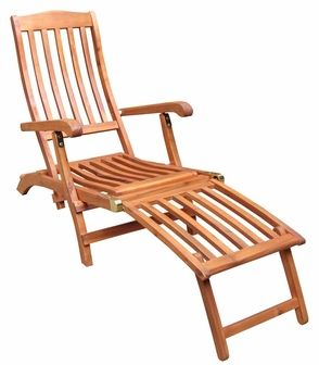 Outdoor Oil Treated Asian Hardwood Folding Steamer Chair with Brass Plated Hardware - Oak Finish, C-53912 by International Concepts | BizChair.com