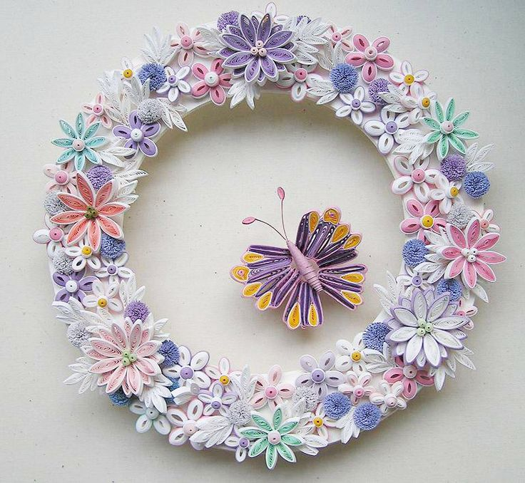 Flower Wreath with a Butterfly