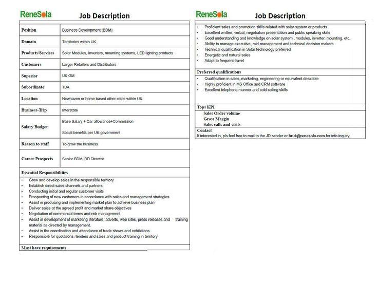 job description Renesola is looking for u0027Business Development - business development job description