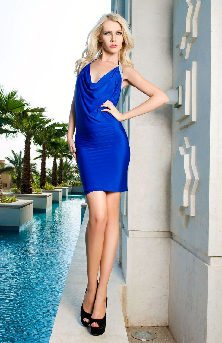 A very simple, elegant halter neck dress in a dazzling shade of Cobalt blue with a sparkling beaded diamante trim.