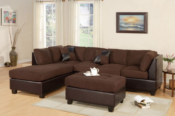 Microfiber Reversible Sectional Sofa with Ottoman F7615