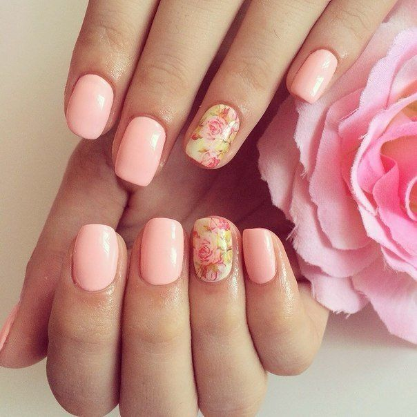 Beautiful nails 2016, Evening dress nails, Festive nails, flower nail art, Nails ideas 2016, Nails with flower print, Nails with stickers, Pale pink nails