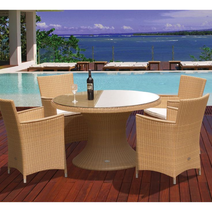 Outdoor Royal Teak 48 in. Helena Full Weave Patio Dining Set - Seats 4 - P71BL