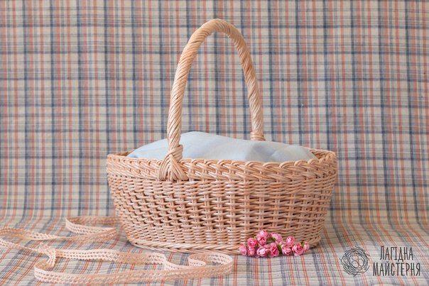 Пасхальная корзина (плетение из бумажной лозы, газет, бумажных трубочек, basket weaving, paper, персиковая)