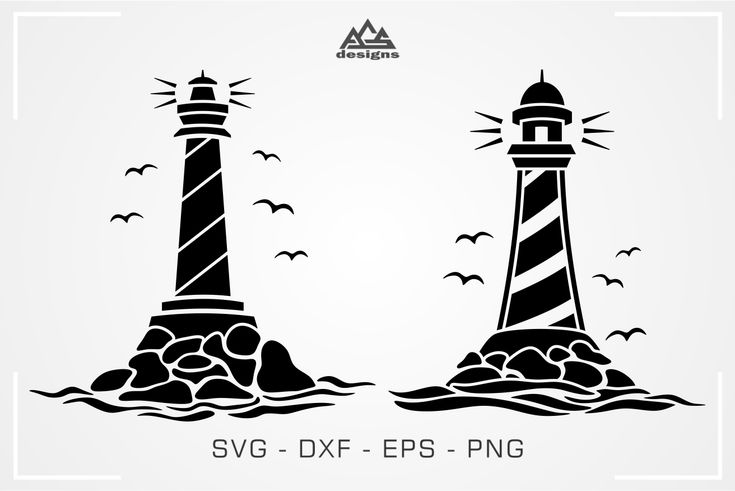 2 Lighthouse Decal Packs Svg Design By AgsDesign