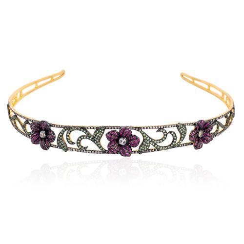 Tiara Online 11.95 ct Rose Cut Diamond Sterling Silver Headband