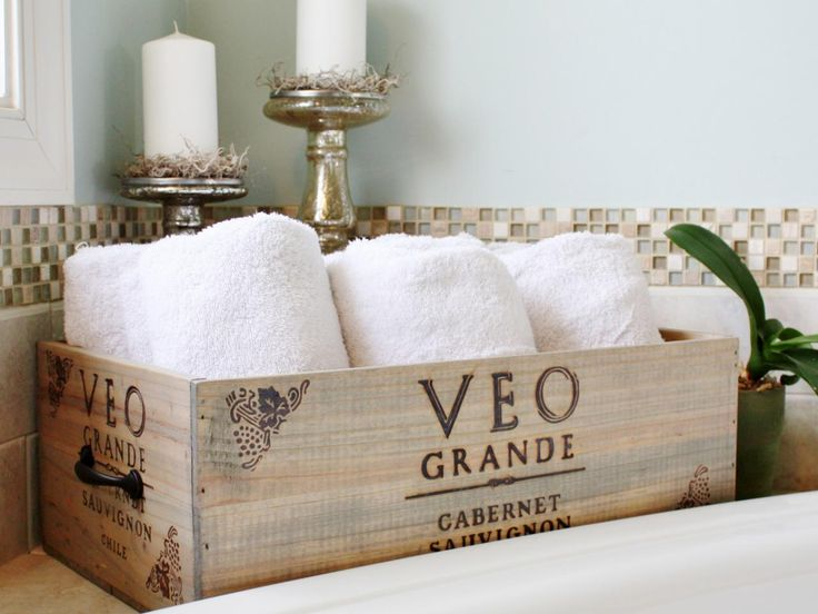 An Ordinary Wine Crate Was Transformed Into Decorative Bathroom Storage By  Applying A Coat Of Stain