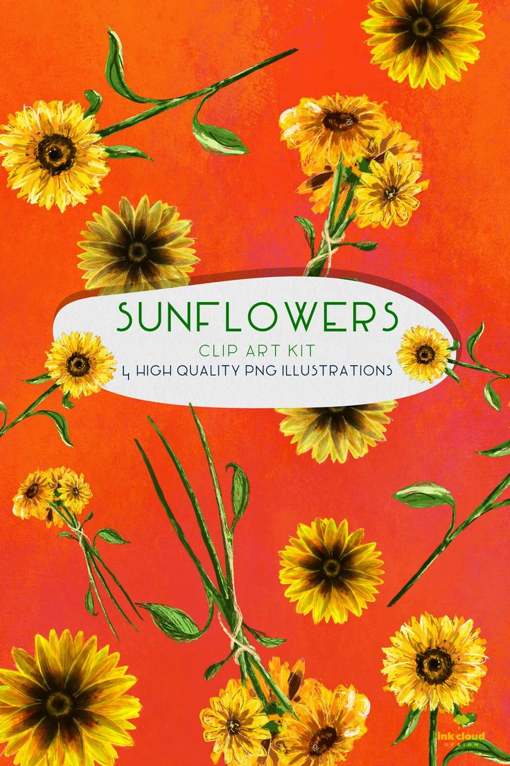 4 Sunflowers Flowers High Quality Clip Art Illustration # ...