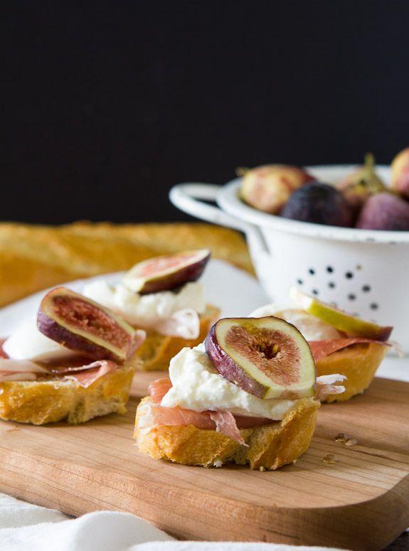 Fig, prosciutto and burrata crostini