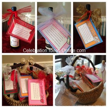 Bridal Shower Wine Basket idea.. help the bride celebrate all the FIRSTS of her marriage!