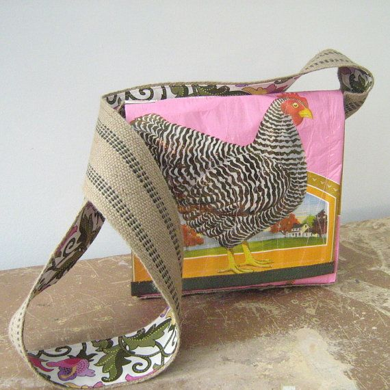 Recycled Chicken Feed Bag Cross Body Bag by OneWomanStudio on Etsy, $50.00