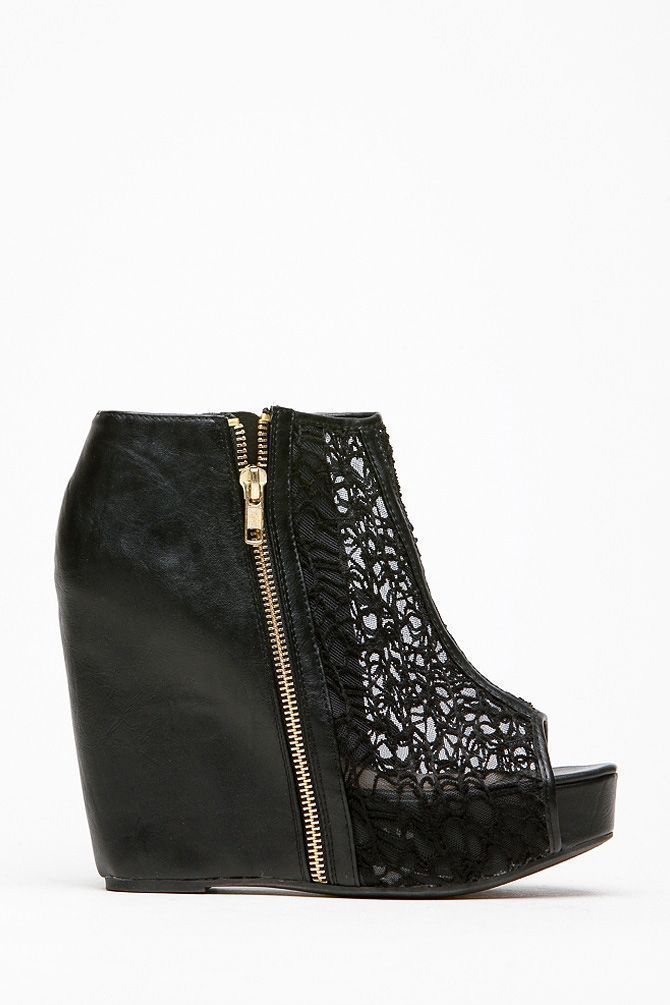 10be68df25a Qupid Black Lace Detailed Booties   Cicihot Wedges Shoes Store Wedge Shoes