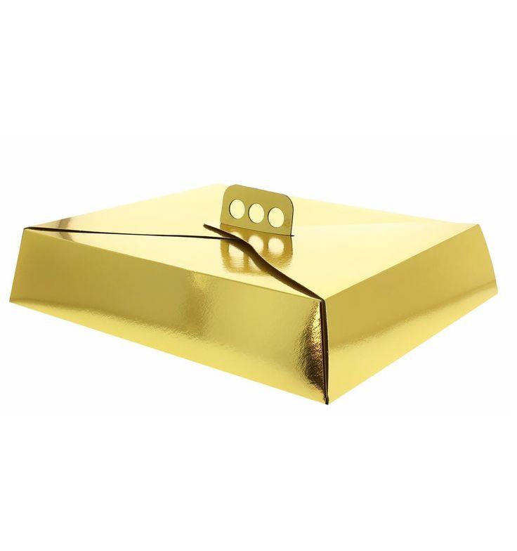 Verpackung für Kuchen rechteckiggold 19x25x8cm. Der Tortenkarton besitzt einen Griff zum angenehmeren Transport des Kuchens. Einheiten á 50 Stück.