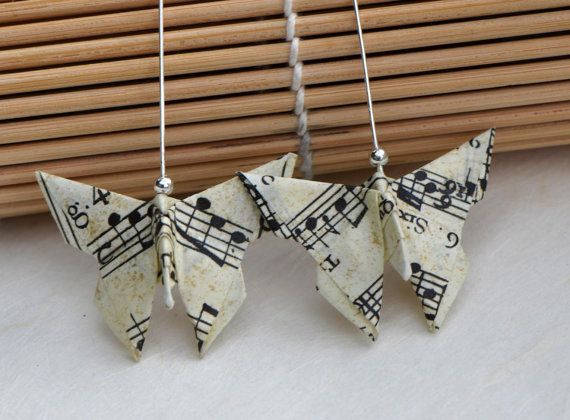 Musical earrings origami butterfly music paper by OrioleStudio