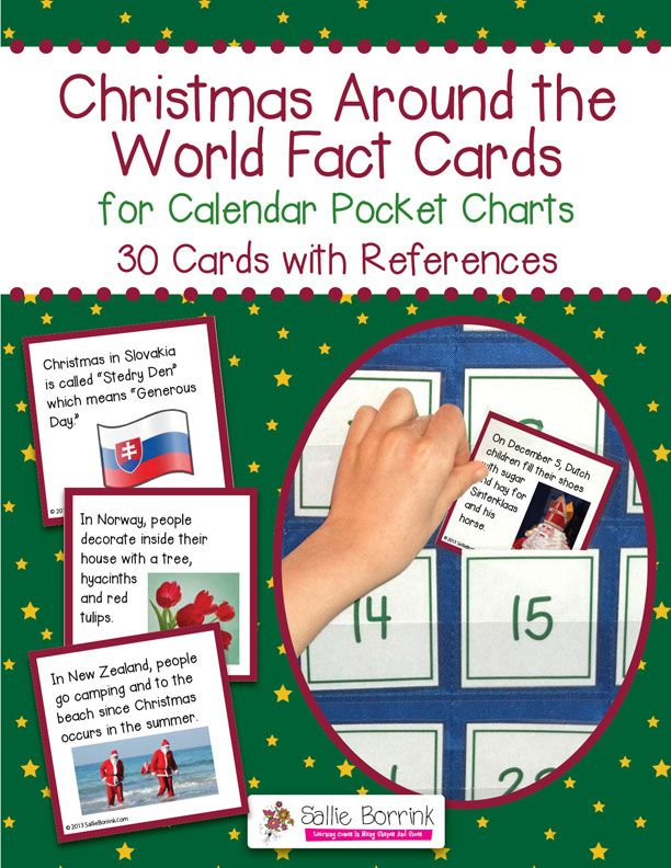Christmas Around the World Fact Cards for Calendar Pocket Charts - Explore fun facts about Christmas traditions around the world with your students in either the classroom or homeschool.  Designed to fit perfectly into a calendar pocket chart for fun use each day. Your students will look forward t discovering the fun fact of the day!