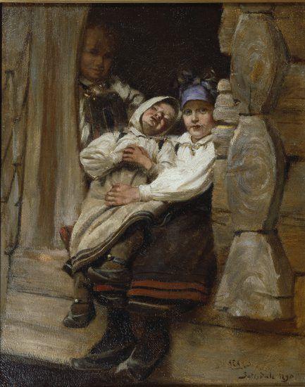 Regina hem line and shoes  Alfredo Andersen (1860-1935): 'Sleeping, Setesdal' Nordic Thoughts: Setesdal, Norway...