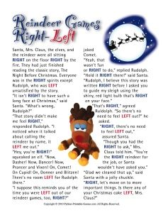 Reindeer Games Left-Right and lots more printable Christmas game fun