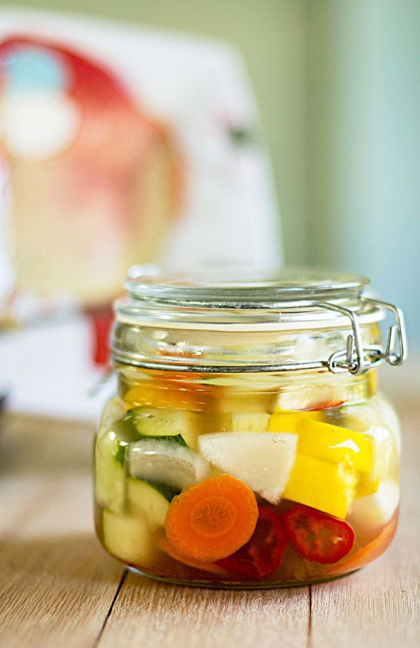 The easiest pickled vegetables you'll ever make. Chop and cover with olive brine. #pickled #vegetables @mjskitchen