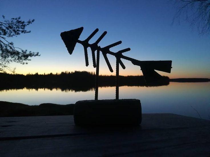 """Ruotikas"" 05/2017  A fish in Finnish summerevening Scrap metal art"