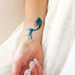 Mermaid watercolor - Temporary Tattoo - TTTattoo - Pozostałe