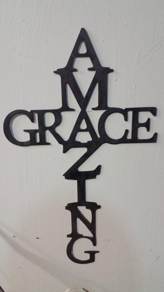 CNC Plasma Cut Amazing Grace Cross Metal Sign Powder Coated or