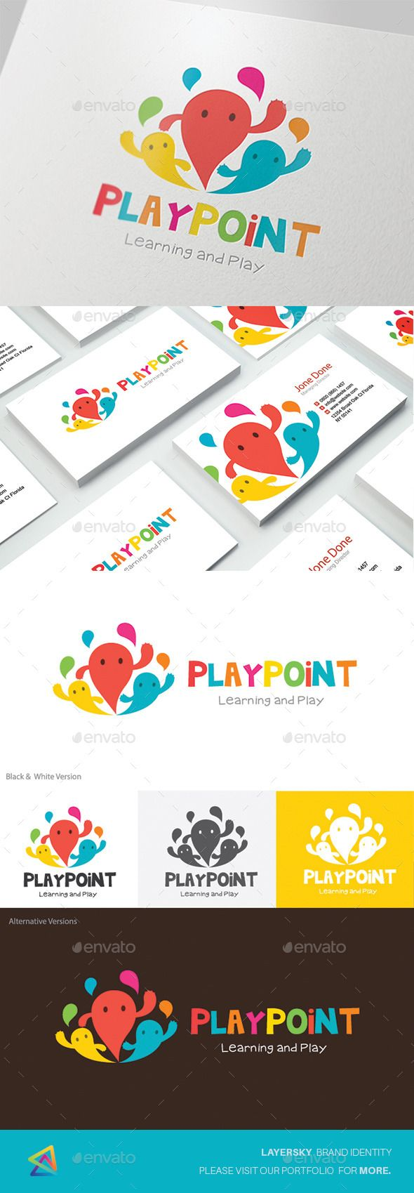 Kids Logo  Play Point — Vector EPS #application #kindergarten • Available here → https://graphicriver.net/item/kids-logo-play-point/12495959?ref=pxcr