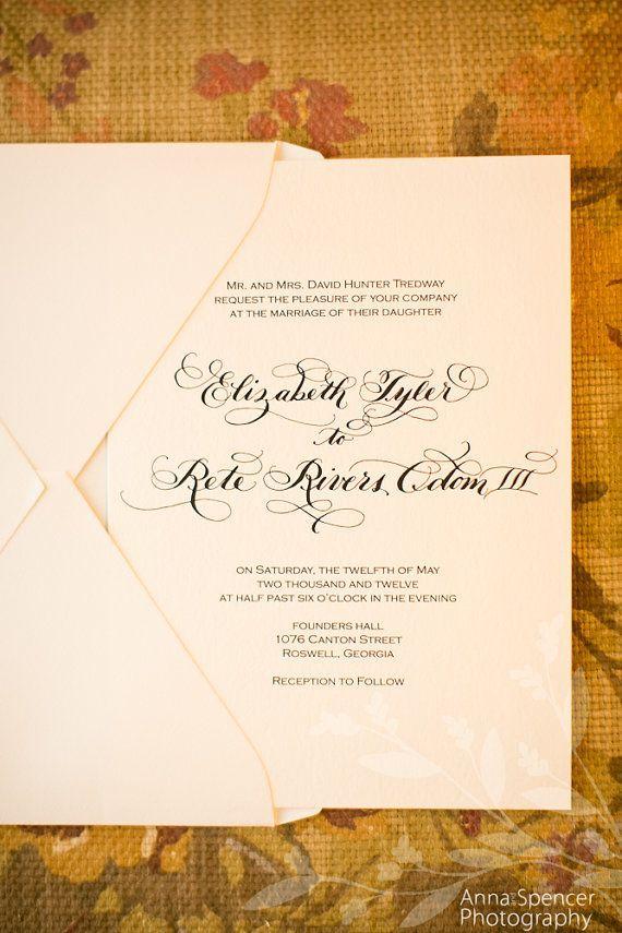 Traditional Calligraphy Wedding Invitation By DesignsByRobynLove,