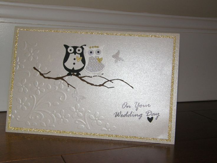 This challenge is perfect, I needed to make a couple of wedding cards for work (I'm the card maker :)) a couple of months ago.  I really wanted to use my owl punch as it had been sitting on the shelf for a long time.  There are so many cute wedding cards in the gallery using the punch, this is  my version.  I hope you like it