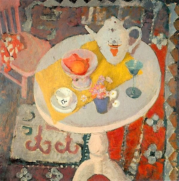 Anne Redpath - still life with teapot on round table, 1945. @Kate Mazur Mazur lyden xx