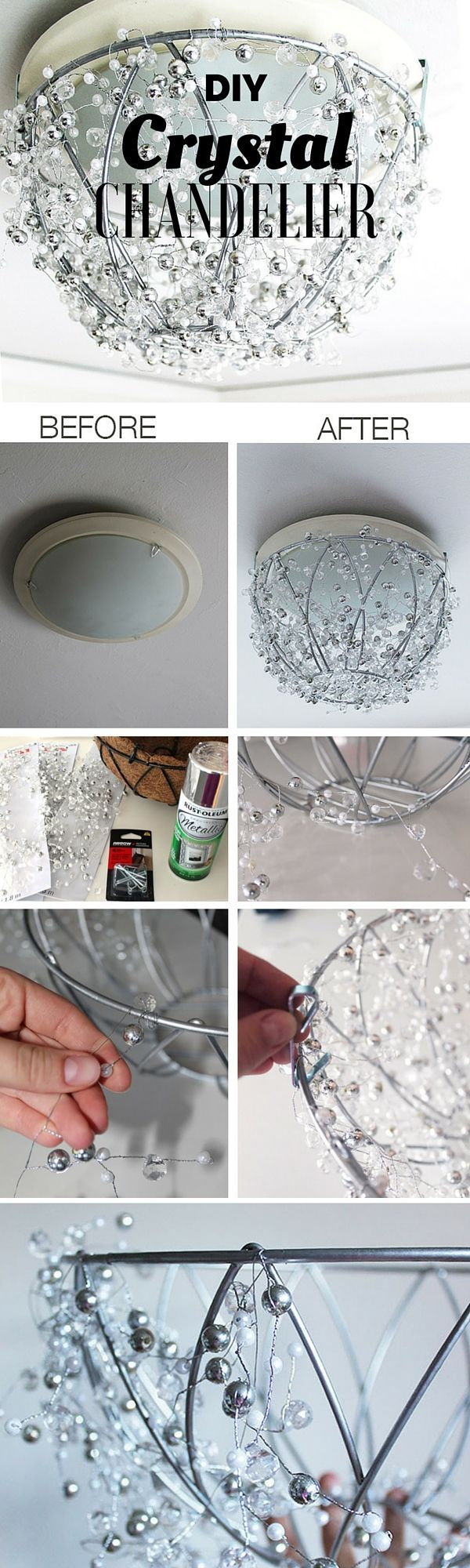 Check out the tutorial: #DIY Crystal Chandelier @istandarddesign                                                                                                                                                                                 More