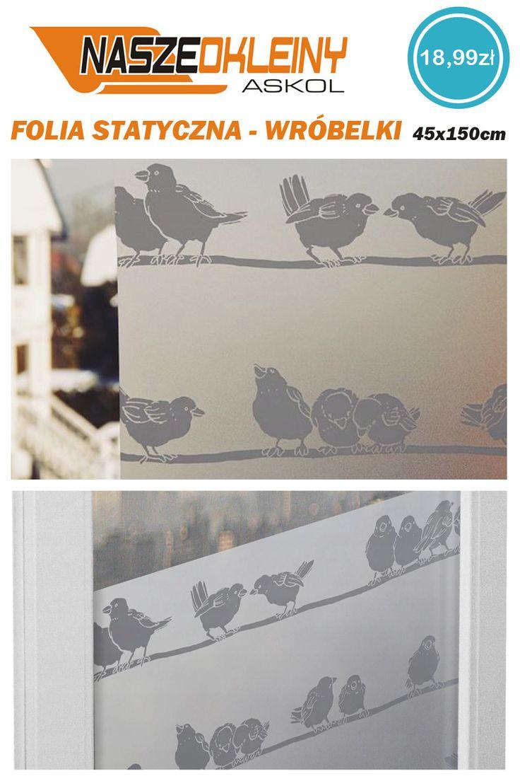 Folia Okienna Statyczna Wrobelki 45x150 G76