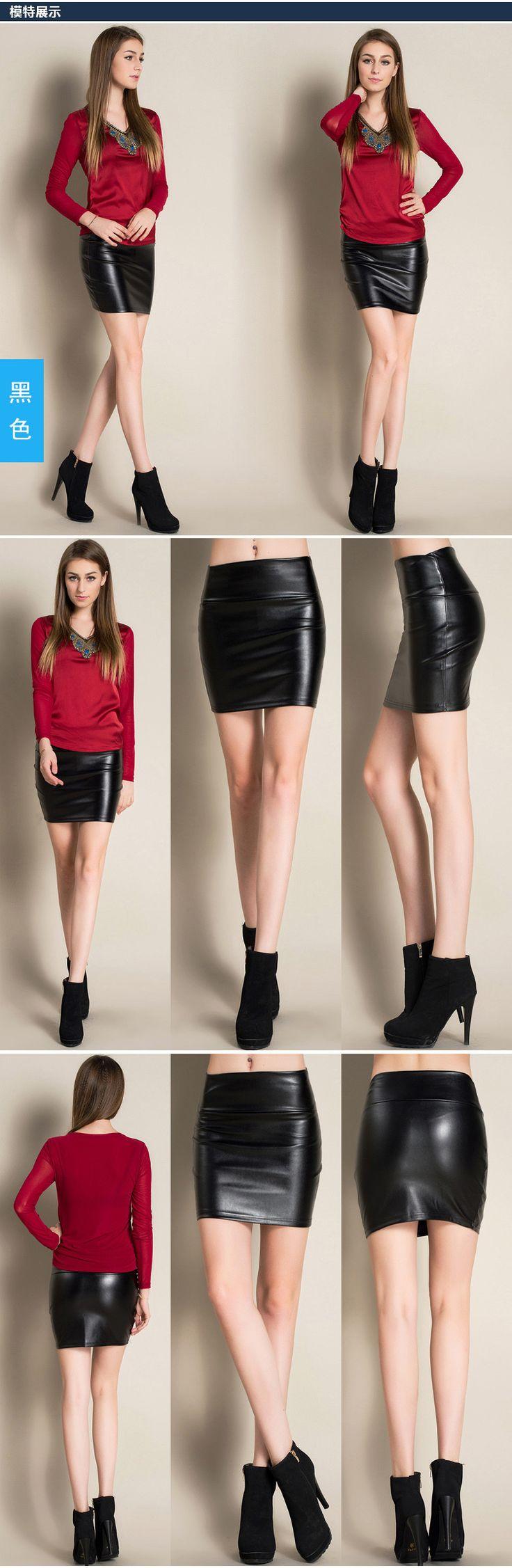 2017 New fashion Women faux pu Leather skirt high waist party clothing female short pencil woman skirts saias femininas - free shipping worldwide