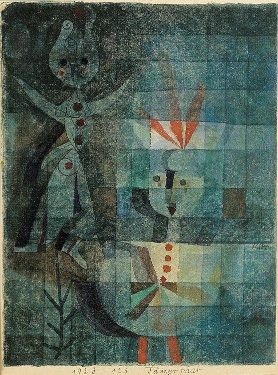 """THE PAIR of DANCERS  (Tänzerpaar), 1923 Paul Klee (1879 - 1940)  Klee nació en Münchenbuchsee, cerca de Berna, Suiza, en una familia de músicos, de padre alemán y madre suiza. De su padre obtuvo la ciudadanía alemana, que usaría toda su vida, dado que Suiza se negó a darle ciudadanía durante su exilio en ese país durante la persecución nazi. Estudió arte en Múnich con Heinrich Knirr y Franz von Stuck. A sus diecisiete años pintó la tinta """"Mi Habitación"""" (1896), mostrada a continuación…"""