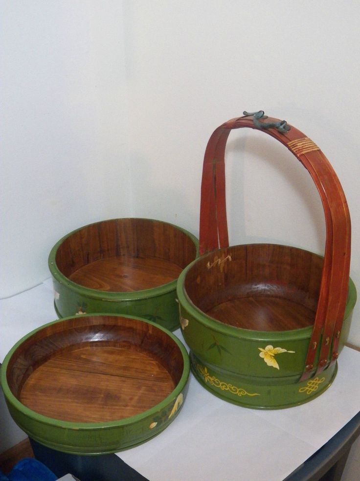 Gorgeous Unique Green Butterfly Vintage Asian 3 Tier Pine Picnic Basket EXC Cond | eBay