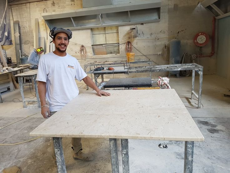 Tawera with a marble table top just finished.  Beautiful top, just like the sand as a wave washes back.