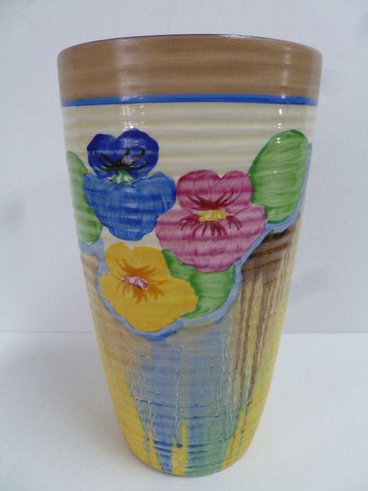 Stunning Clarice Cliff Bizarre Pansies Vase | eBay