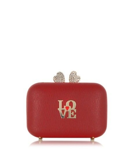 LOVE MOSCHINO RED ECO LEATHER CLUTCH W/CHAIN STRAP