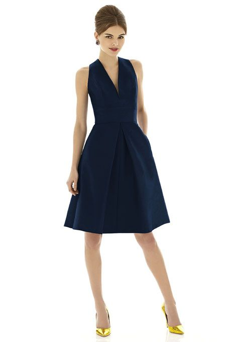 Brides.com: Navy Blue Bridesmaid Dresses Style D612, peau de soie bridesmaid dress in midnight, $190, Alfred Sung available at Weddington Way  See more Alfred Sung bridesmaid dresses.Photo: Courtesy of Alfred Sung