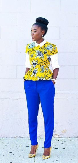 Cap Sleeve High-Low Pleated Peplum Ankara Top. Ankara | Dutch wax | Kente | Kitenge | Dashiki | African print bomber jacket | African fashion | Ankara bomber jacket | African prints | Nigerian style | Ghanaian fashion | Senegal fashion | Kenya fashion | Nigerian fashion | Ankara crop top (affiliate)