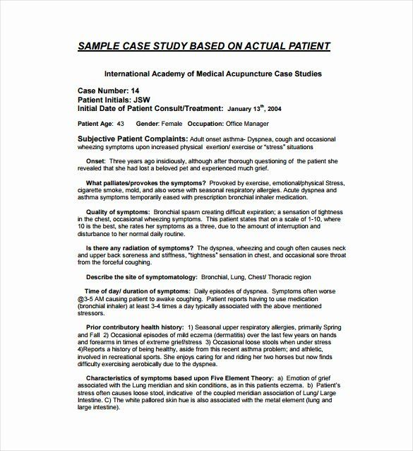 Medical Case Study Example