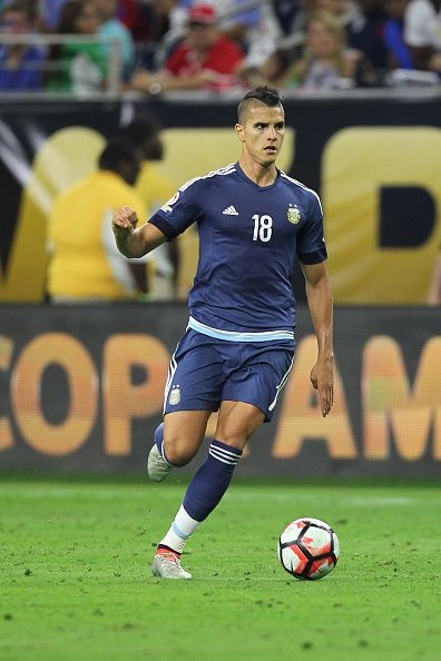 #COPA2016 Erik Lamela of Argentina drives the ball during the Semifinal match between United States and Argentina at NRG Stadium as part of Copa America...