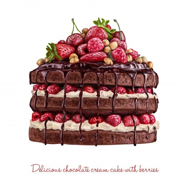 Chocolate creamy cake with berries Premium Vector