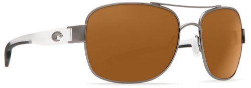 Costa Del Mar Sunglasses - Cocos- Plastic / Frame: Gunmetal /Crystal Lens: Polarized Amber 580P Polycarbonate. Frame Material: Metal. Lens Material: Plastic. Lens Width: 59mm. Bridge: 16mm. Arm: 125mm.